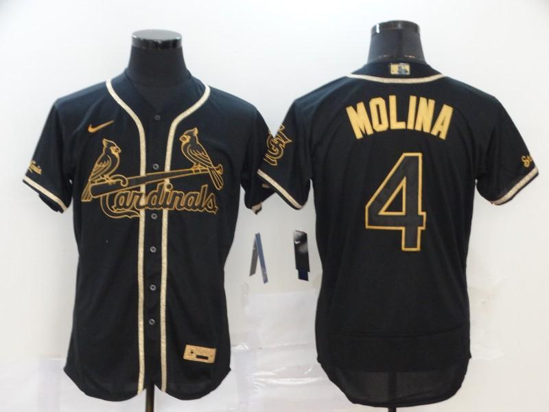Cardinals 4 Yadier Molina Black Gold Nike Flexbase Jersey