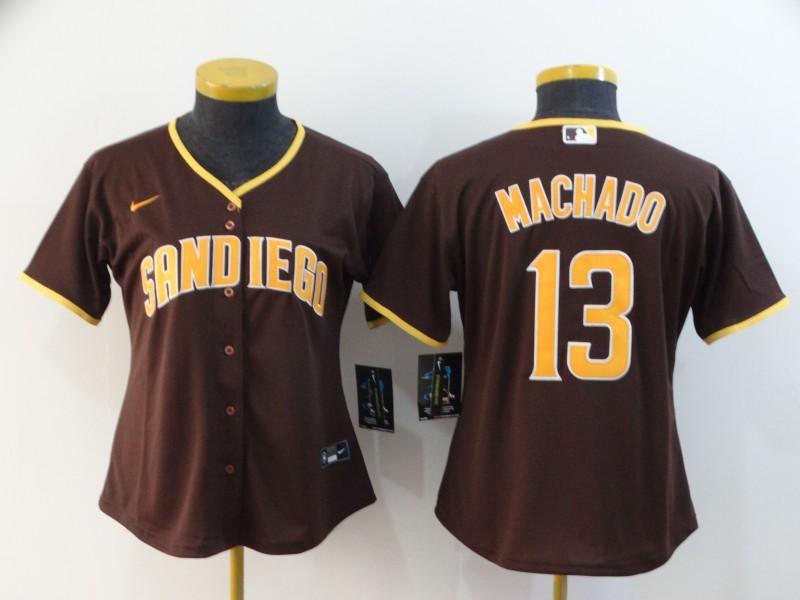 Padres 13 Manny Machado Brown Women Nike 2020 Cool Base Jersey