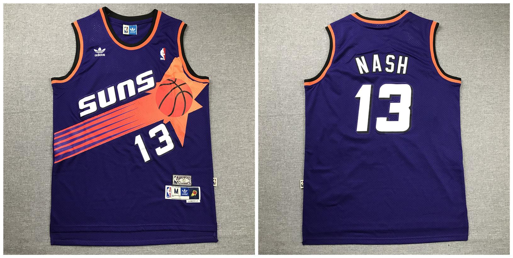 Suns 13 Steve Nash Purple Hardwood Classics Jersey