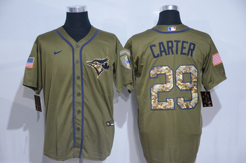 Blue Jays 29 Joe Carter Olive 2020 Nike Cool Base Jersey