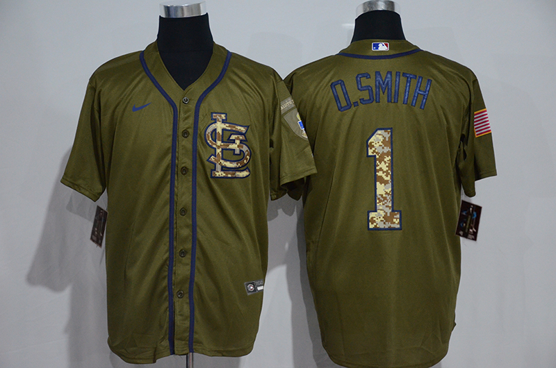 Cardinals 1 O.Smith Olive 2020 Nike Cool Base Jersey