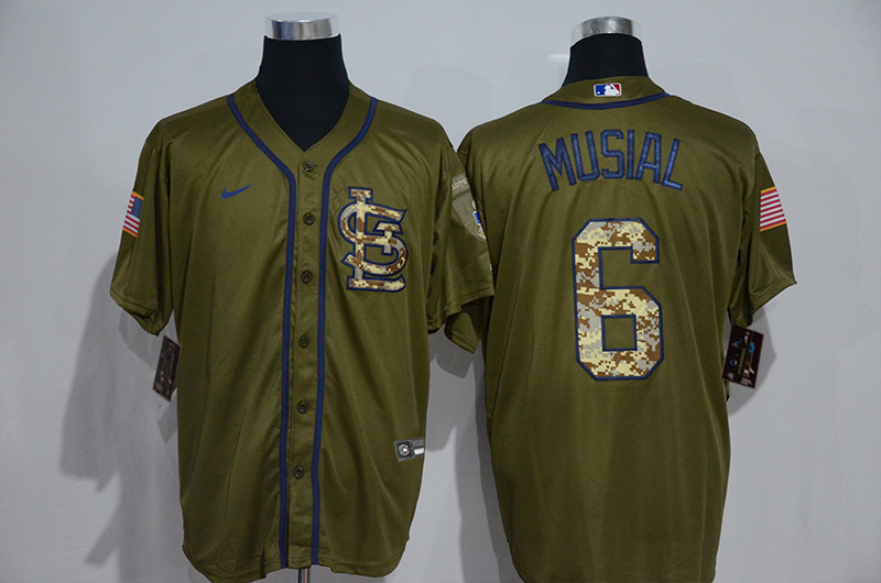 Cardinals 6 Stan Musial Olive 2020 Nike Cool Base Jersey