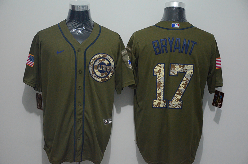 Cubs 17 Kris Bryant Olive 2020 Nike Cool Base Jersey
