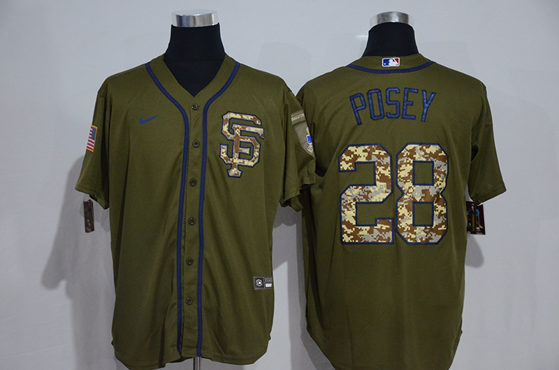 Giants 28 Buster Posey Olive 2020 Nike Cool Base Jersey