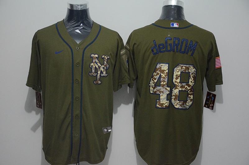Mets 48 Jacob deGrom Olive 2020 Nike Cool Base Jersey