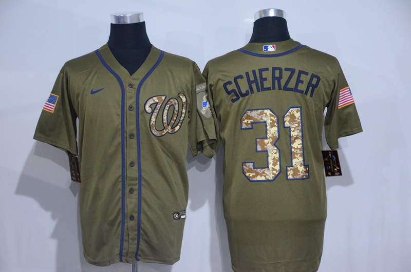 Nationals 31 Max Scherzer Olive 2020 Nike Cool Base Jersey