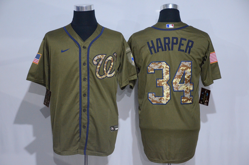 Nationals 34 Bryce Harper Olive 2020 Nike Cool Base Jersey