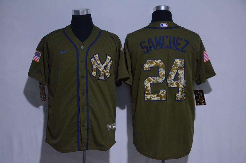 Yankees 24 Gary Sanchez Olive 2020 Nike Cool Base Jersey
