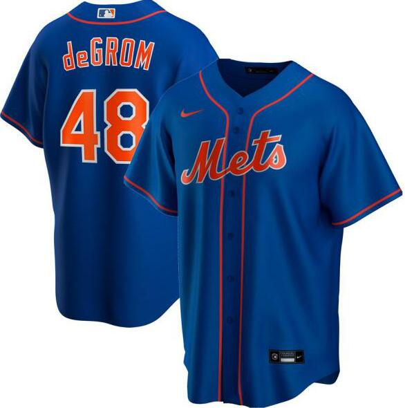 Mets 48 Jacob deGrom Royal 2020 Nike Cool Base Jersey