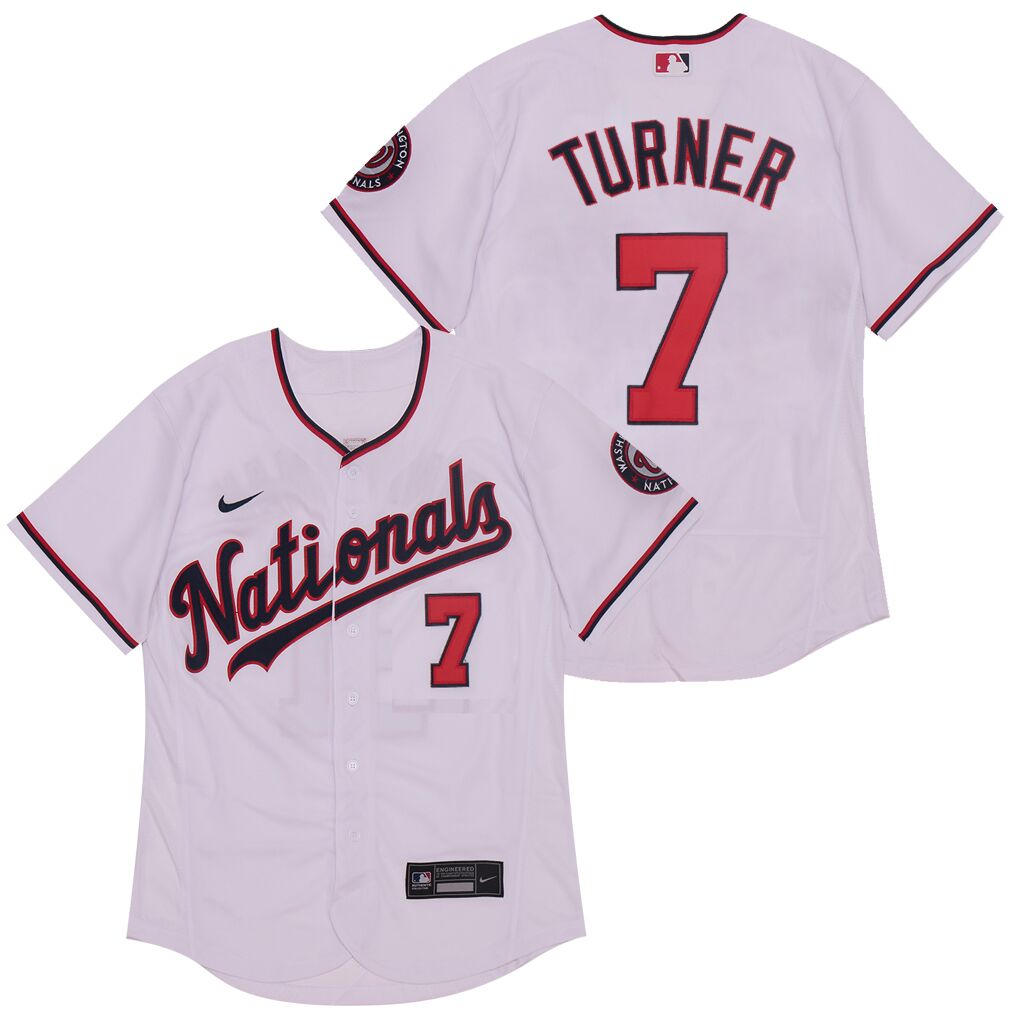 Nationals 7 Trea Turner White Nike 2020 Flexbase Jersey