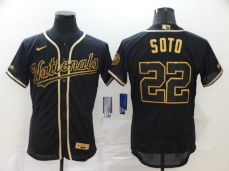 Nationals 22 Juan Soto Black Gold 2020 Nike Flexbase Jersey