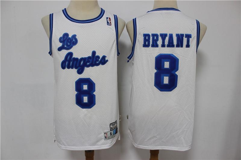 Lakers 8 Kobe Bryant White Hardwood Classics Swingman Jersey