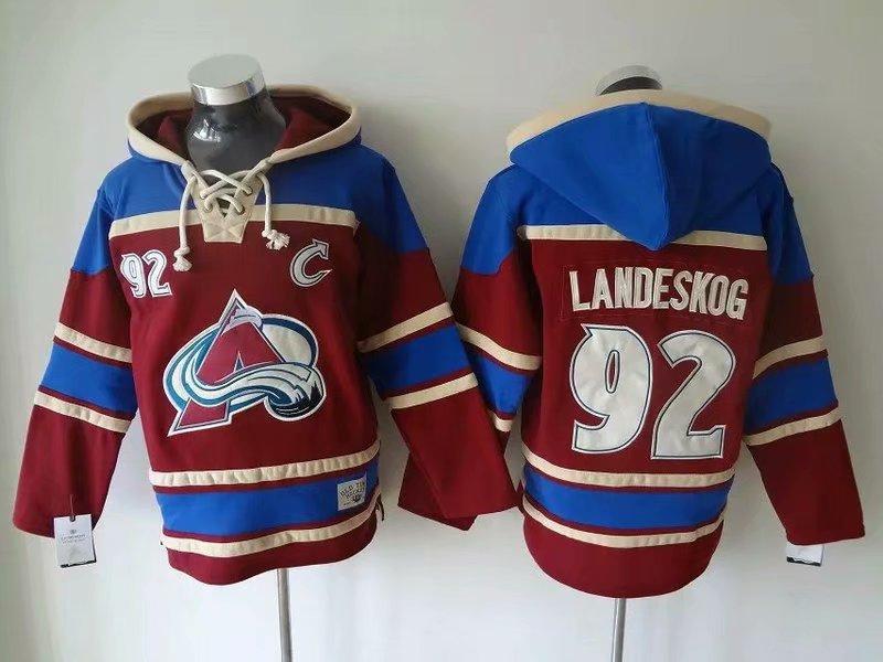 Avalanche 92 Gabriel Landeskog Burgundy All Stitched Pullover Hoodie