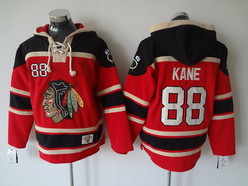 Blackhawks 88 Patrick Kane Red All Stitched Pullover Hoodie