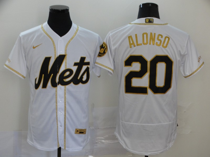 Mets 20 Pete Alonso White Gold 2020 Nike Flexbase Jersey