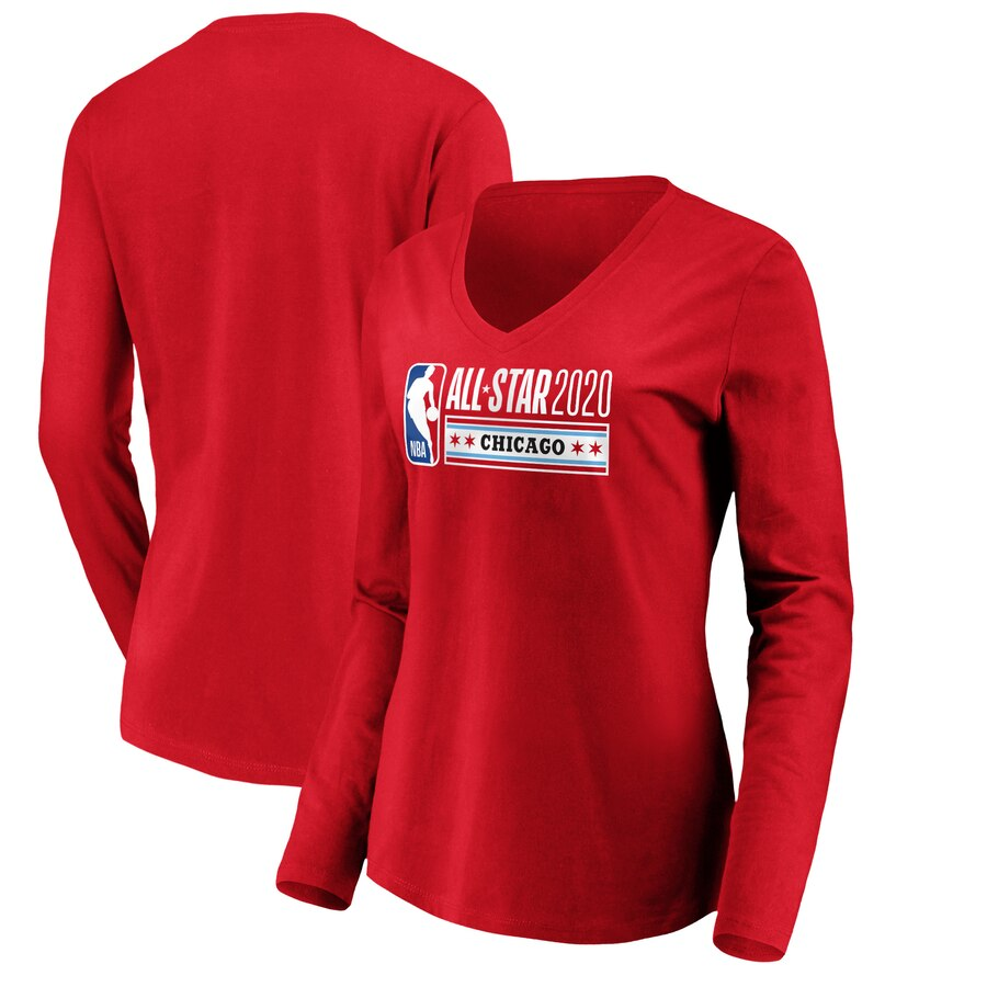 Fanatics Branded Women's 2020 NBA All-Star Game Official Logo Long Sleeve V Neck T-Shirt Red
