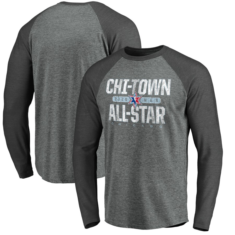 Fanatics Branded 2020 NBA All-Star Game Distressed Long Sleeve Tri Blend Raglan T-Shirt Heather Gray