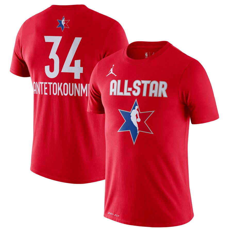Giannis Antetokounmpo Jordan Brand 2020 NBA All-Star Game Name & Number Player T-Shirt Red