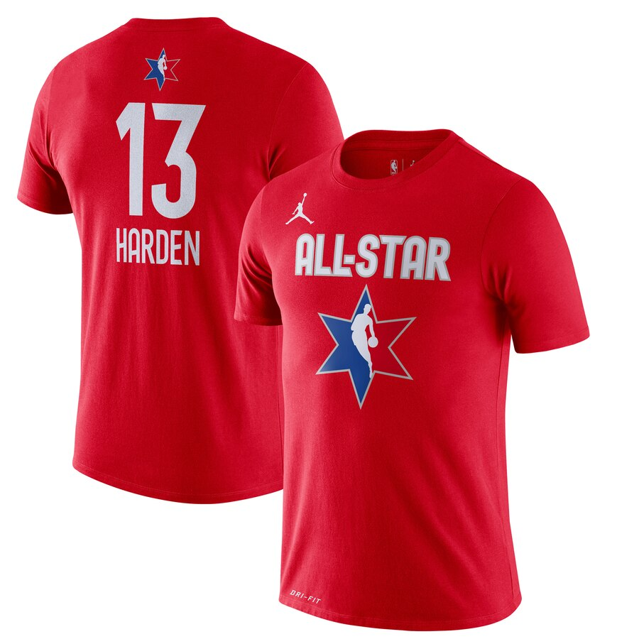 James Harden Jordan Brand 2020 NBA All-Star Game Name & Number Player T-Shirt Red