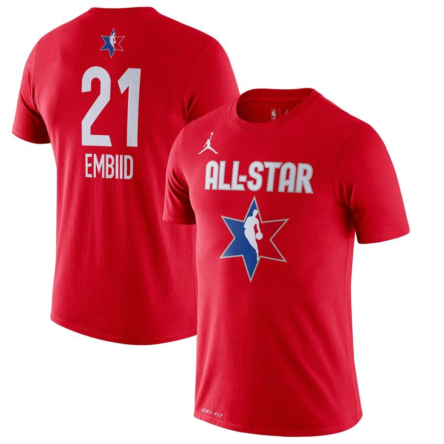 Joel Embiid Jordan Brand 2020 NBA All-Star Game Name & Number Player T-Shirt Red