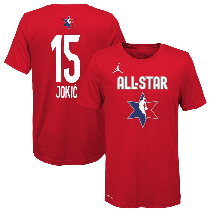 Jordan Brand Nikola Jokic Red 2020 NBA All-Star Game Name & Number T-Shirt