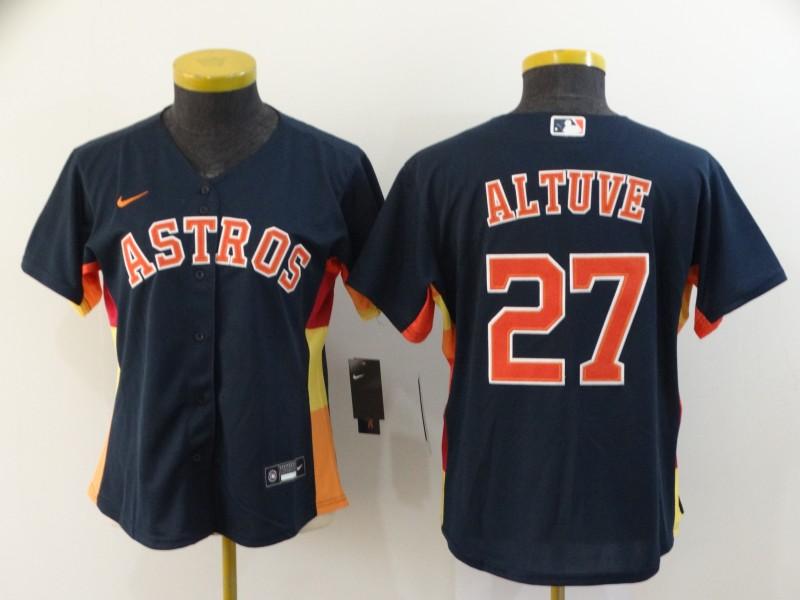 Astros 27 Jose Altuve Navy Women 2020 Nike Cool Base Jersey