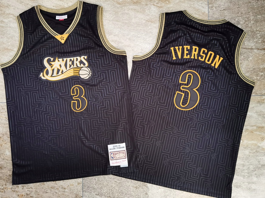 76ers 3 Allen Iverson Black 2000-01 Hardwood Classics Jersey