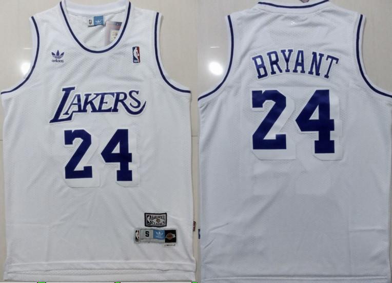 Lakers 24 Kobe Bryant White Hardwood Classics Jersey