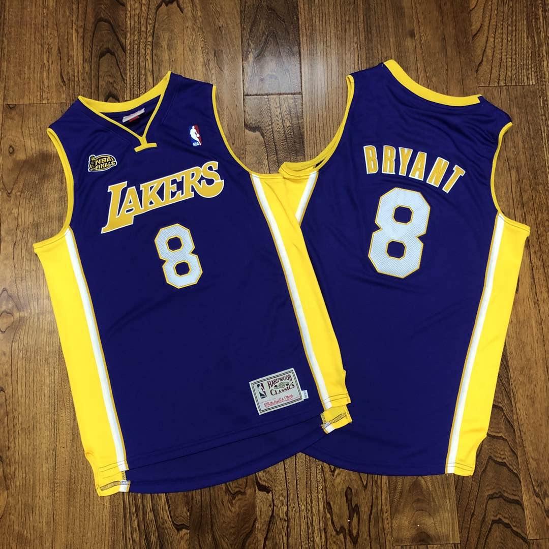 Lakers 8 Kobe Bryant Purple NBA Finals Patch Hardwood Classics Jersey