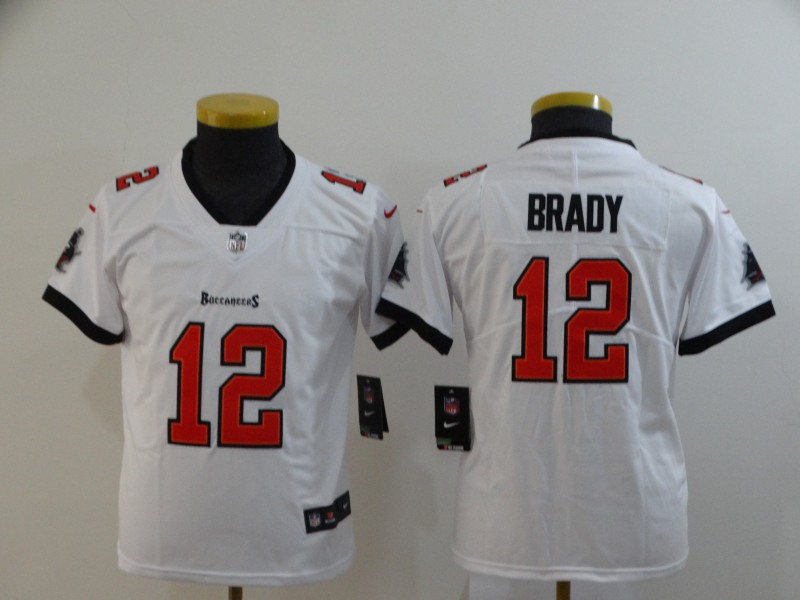 Nike Buccaneers 12 Tom Brady White Youth New 2020 Vapor Untouchable Limited Jersey