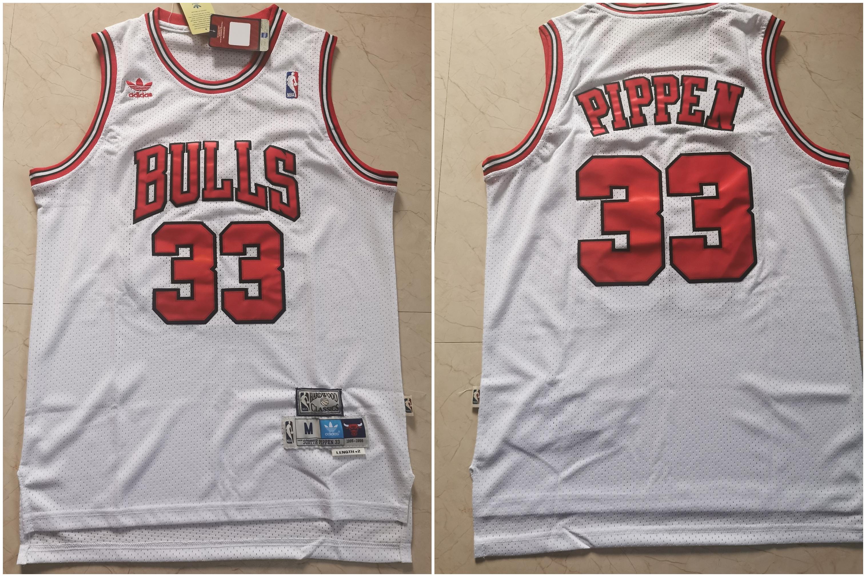 Bulls 33 Scottie Pippen White Hardwood Classics Jersey