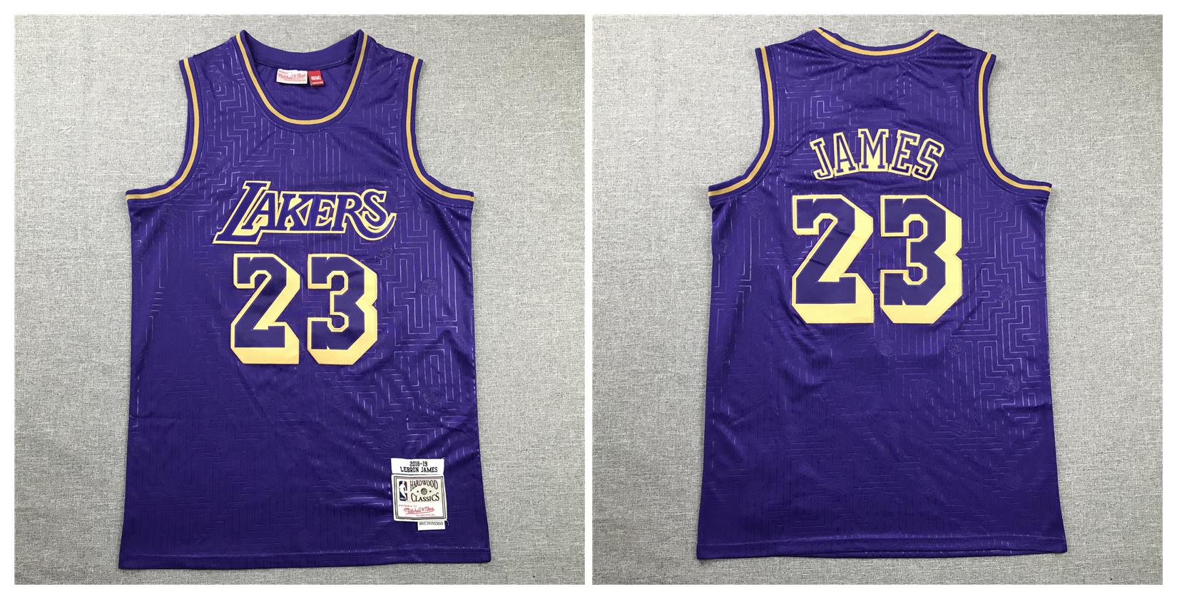 Lakers 23 Lebron James Purple 2008-19 Hardwood Classics Jersey