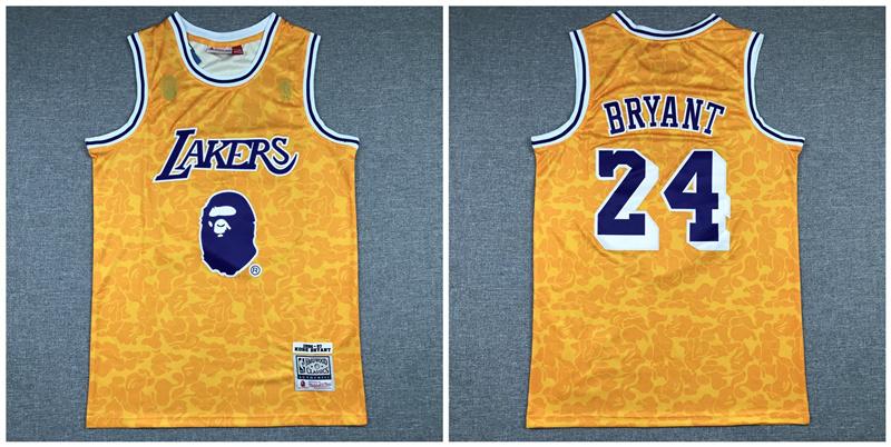 Lakers Bape 24 Kobe Bryant Yellow 1996-97 Hardwood Classics Jersey