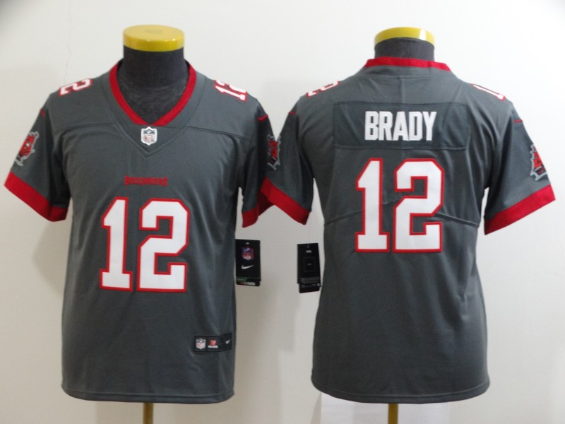 Nike Buccaneers 12 Tom Brady Gray Youth New 2020 Vapor Untouchable Limited Jersey