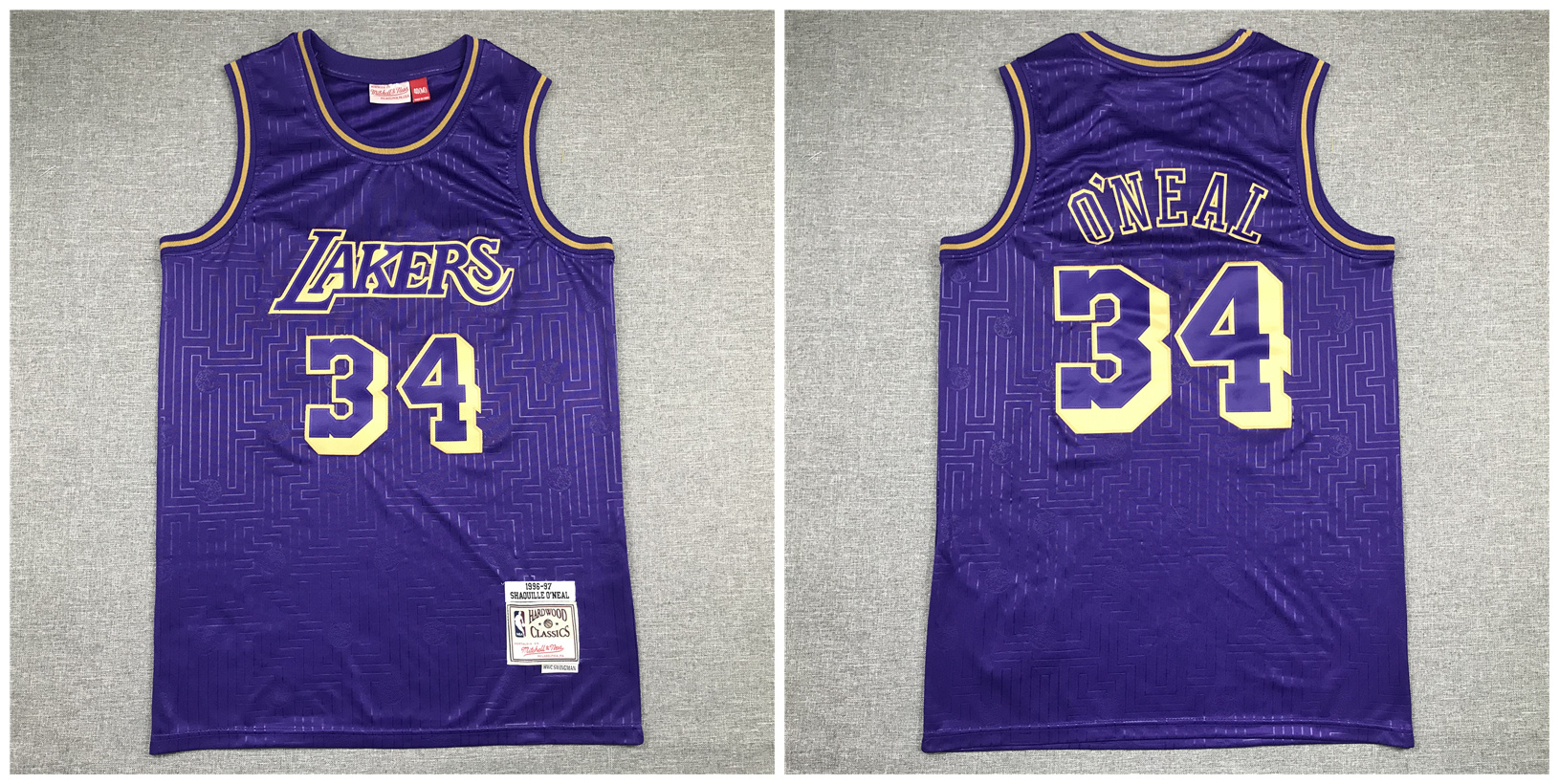Lakers 34 Shaquille O'Neal Purple 1996-97 Hardwood Classics Jersey