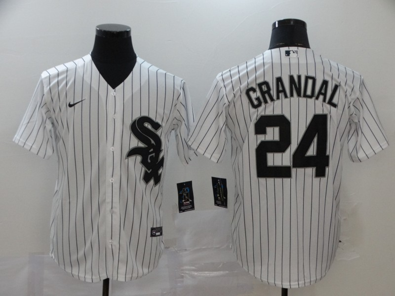 White Sox 24 Yasmani Grandal White 2020 Nike Cool Base Jersey