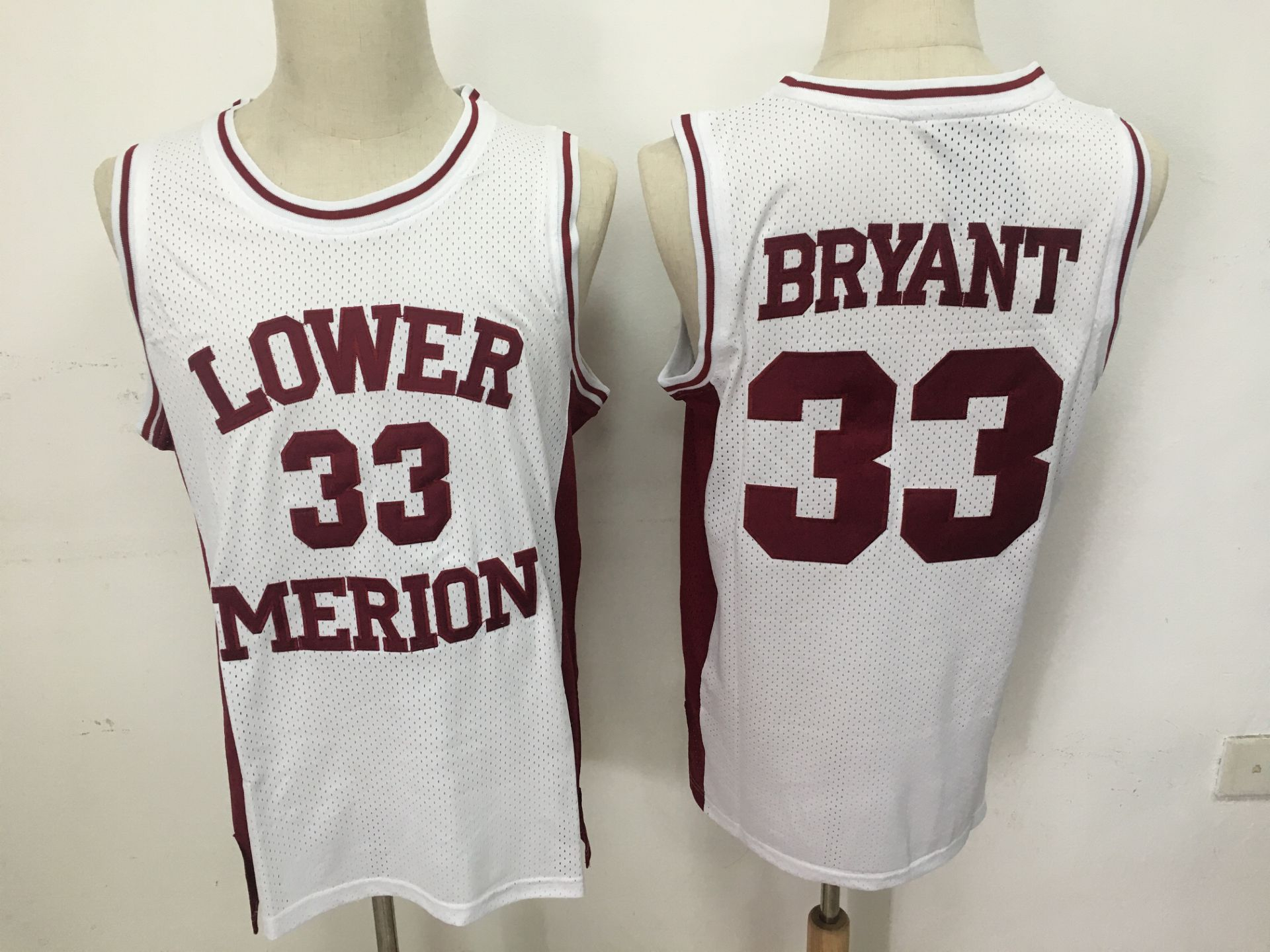 Lower Merion Aces 33 Kobe Bryant White High School Mesh Basketball Jersey