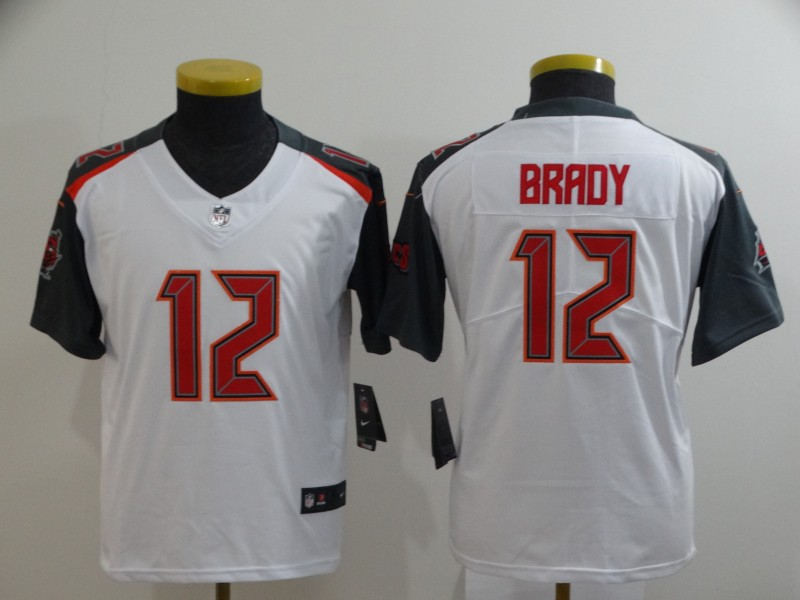 Buccaneers 12 Tom Brady White Youth Vapor Untouchable Limited Jersey