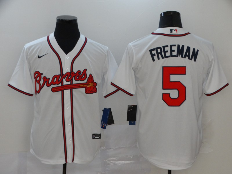 Braves 5 Freddie Freeman White 2020 Nike Cool Base Jersey