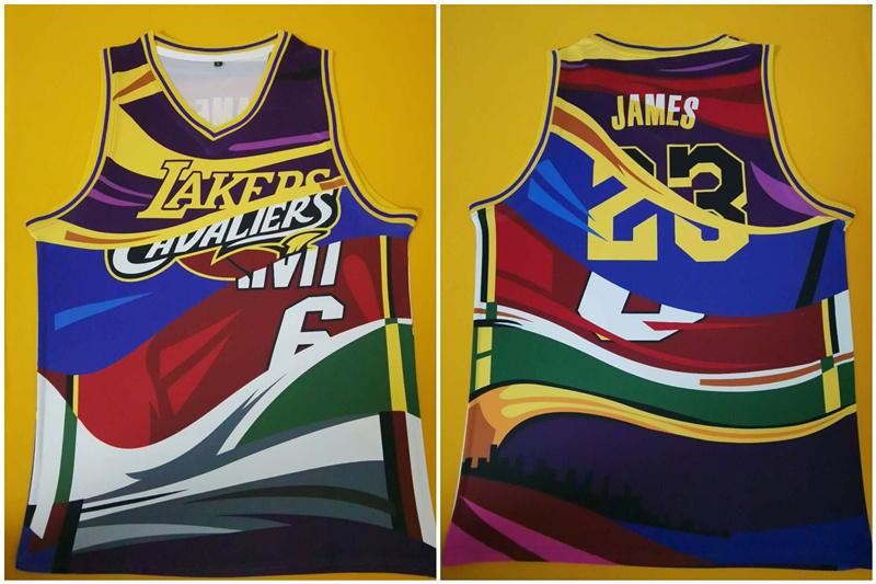 Lakers 23 Lebron James Multi Color Swingman Jersey