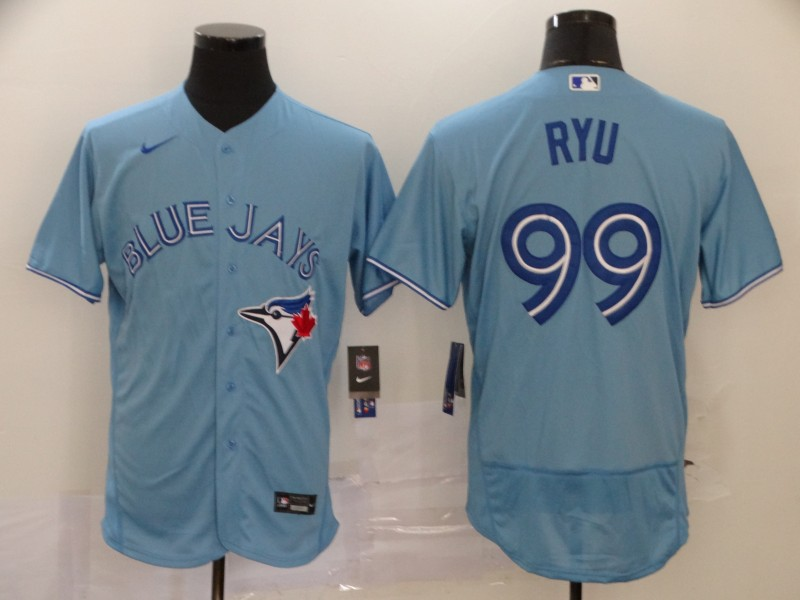 Blue Jays 99 Hyun Jin Ryu Light Blue 2020 Nike Flexbase Jersey