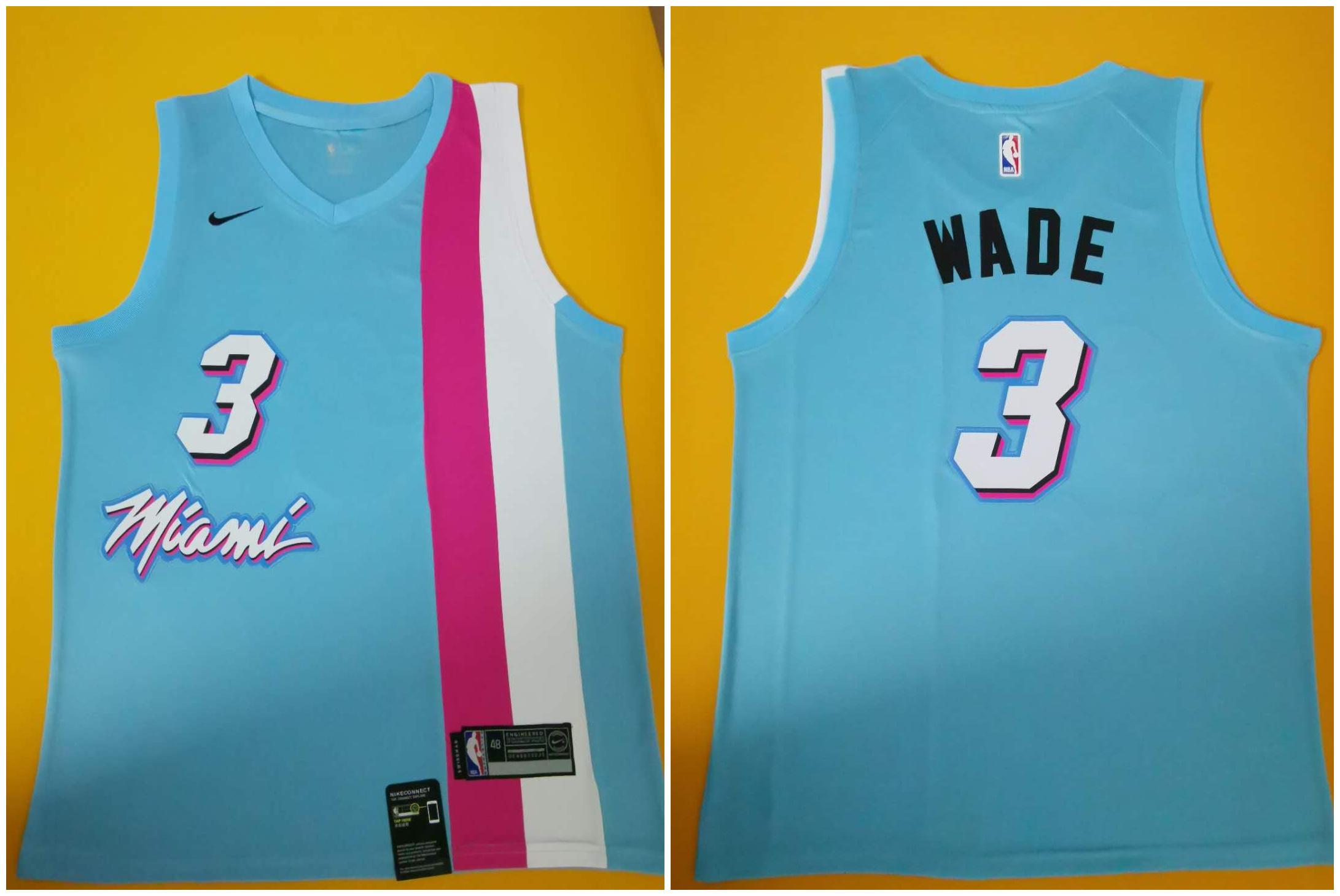 Heat 3 Dwyane Wade Blue Nike Swingman Jersey