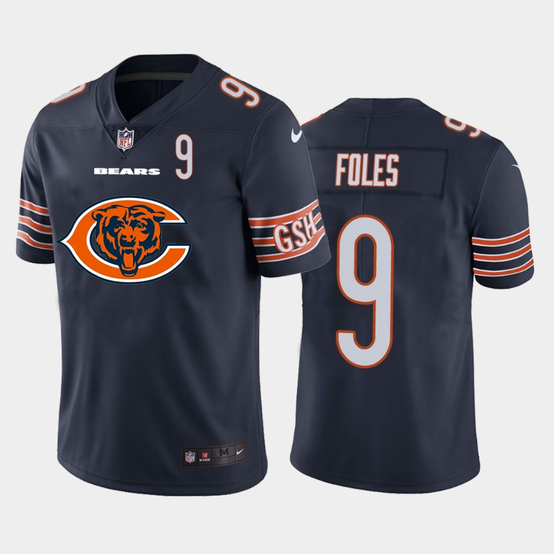 Nike Bears 9 Nick Foles Navy Team Big Logo Number Vapor Untouchable Limited Jersey