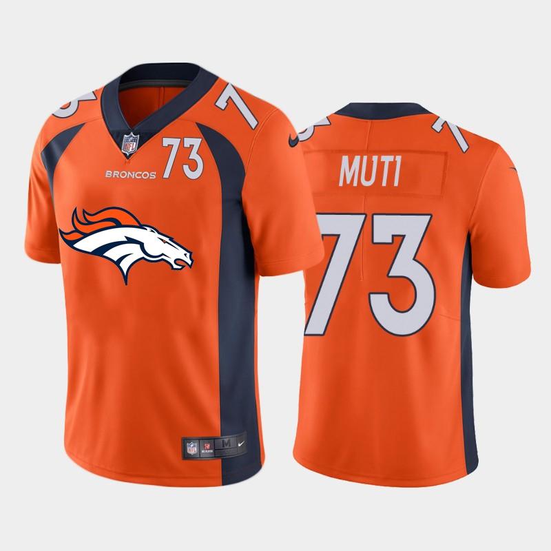 Nike Broncos 73 Netane Muti Orange Team Big Logo Number Vapor Untouchable Limited Jersey