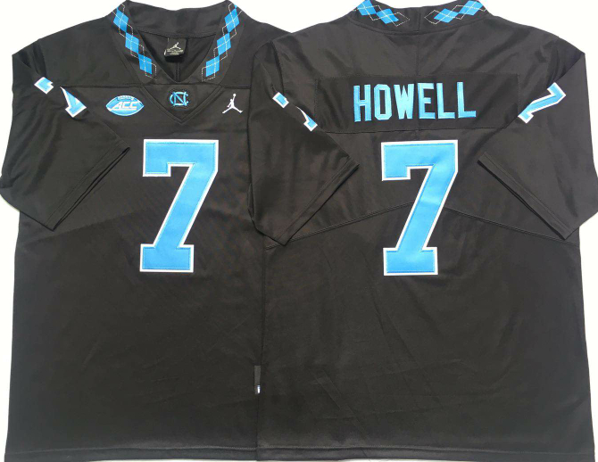 North Carolina Tar Heels 7 Sam Howell Black College Football Jersey