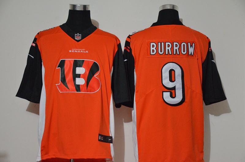 Nike Bengals 9 Joe Burrow Orange Team Big Logo Vapor Untouchable Limited Jersey