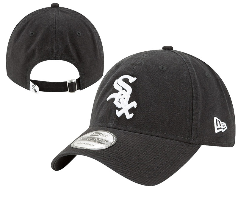 White Sox Team Logo Black Peaked Adjustable Hat YD