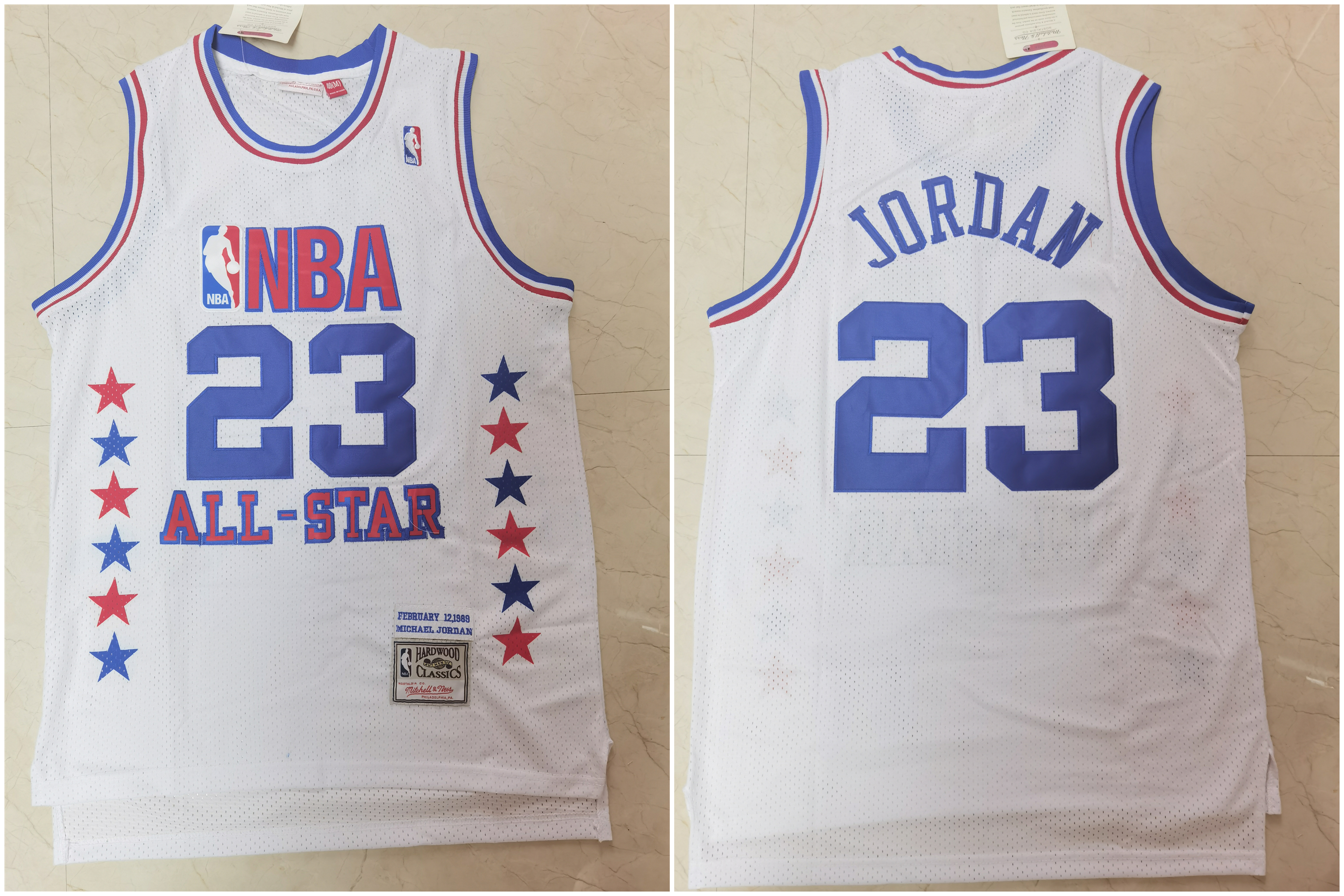 Bulls 23 Michael Jordan White 1989 All-Star Hardwood Classics Jersey