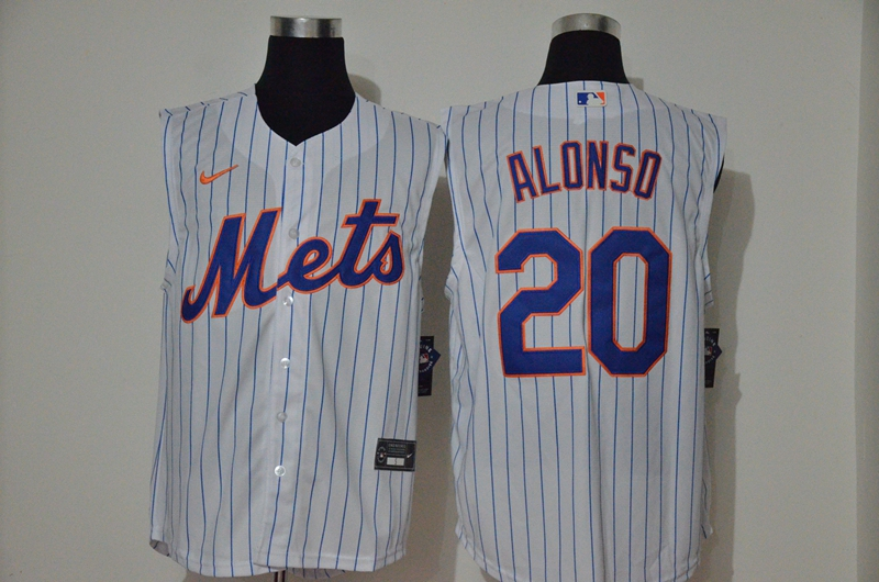 Mets 20 Pete Alonso White Nike Cool Base Sleeveless Jersey