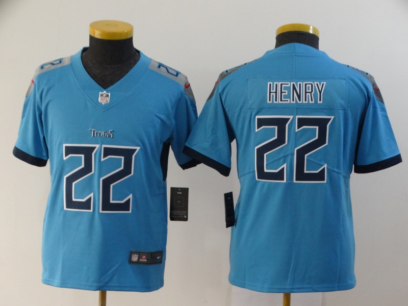 Nike Titans 22 Derrick Henry Blue Youth New Vapor Untouchable Player Limited Jersey